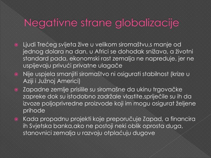 Negativne strane globalizacije