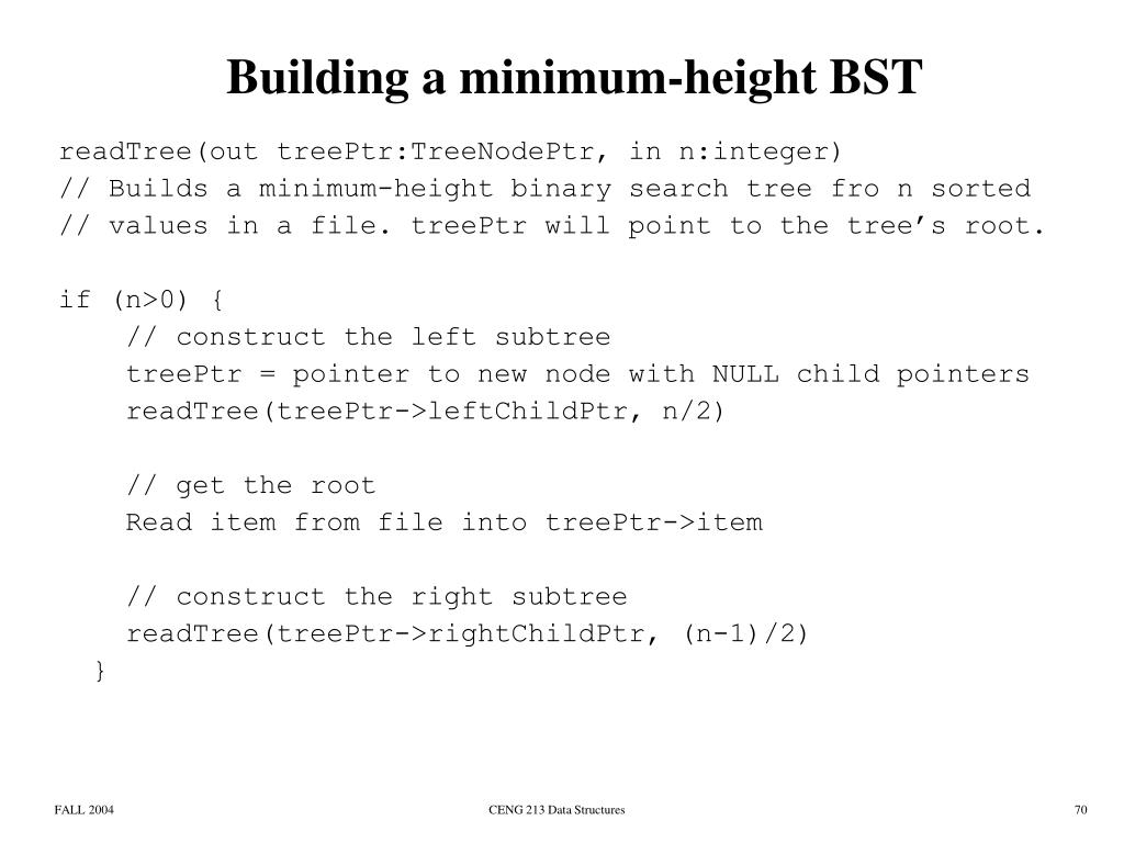 Building a minimum-height BST