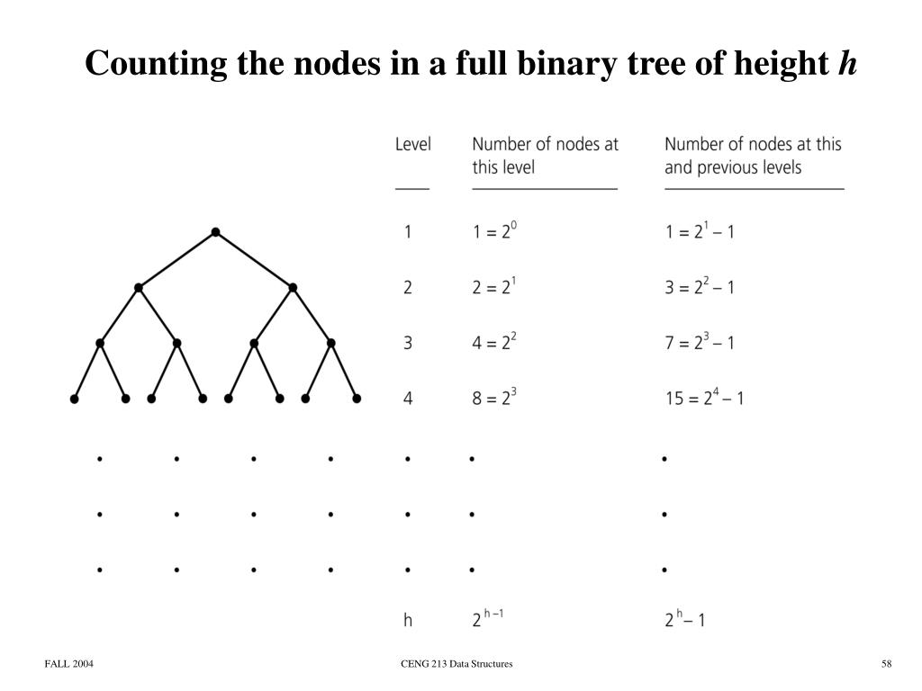 Counting the nodes in a full binary tree of height