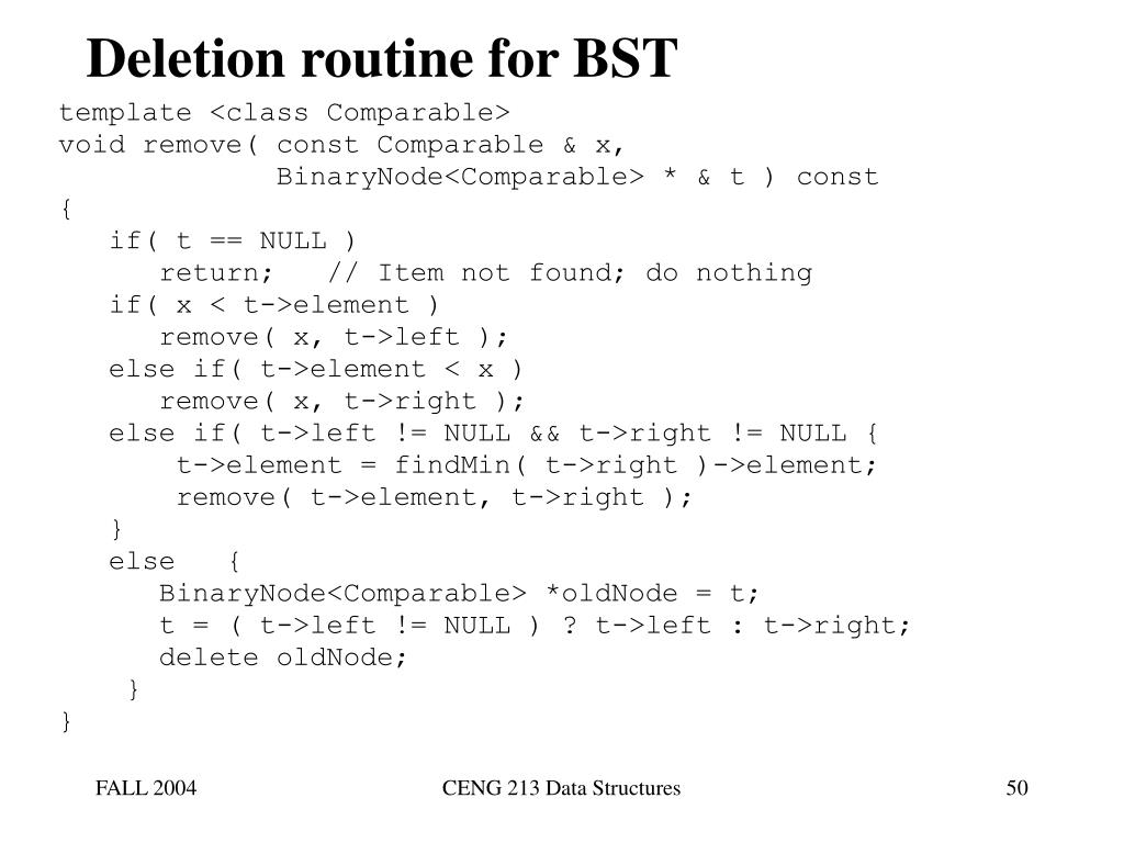 Deletion routine for BST