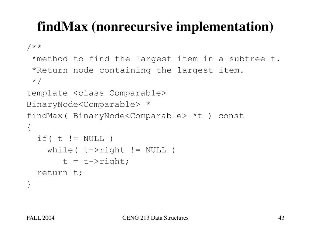 findMax (nonrecursive implementation)