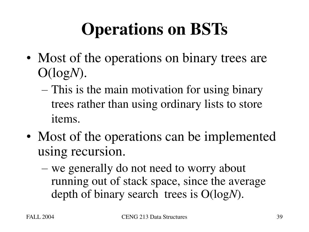 Operations on BSTs