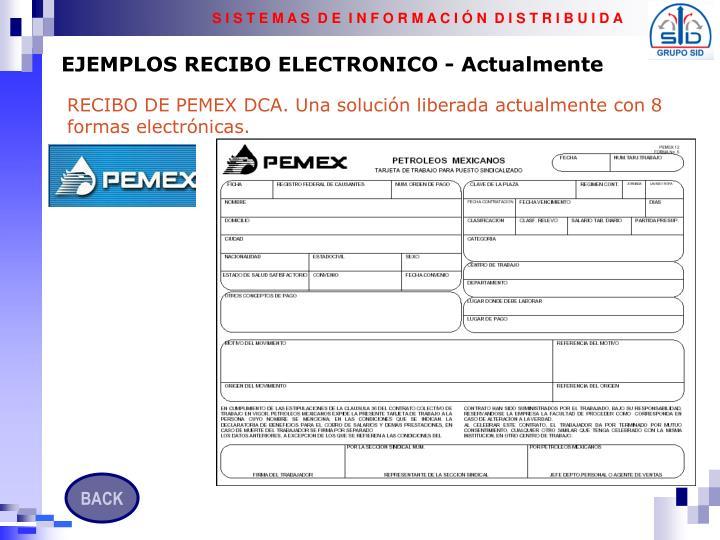 EJEMPLOS RECIBO ELECTRONICO - Actualmente