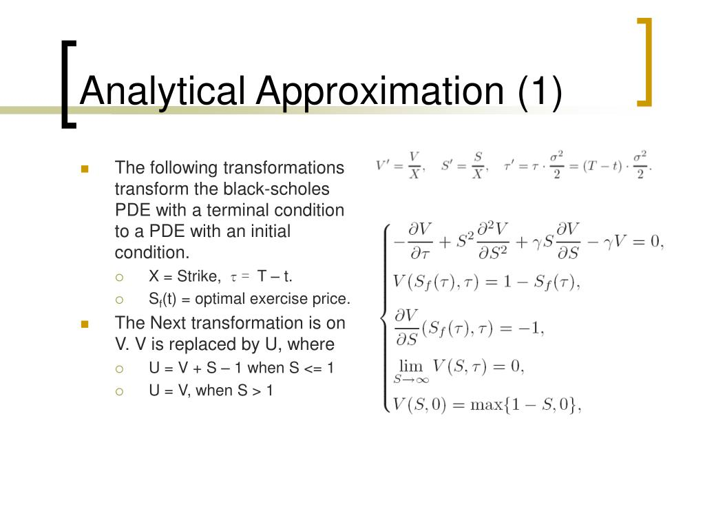 Analytical Approximation (1)