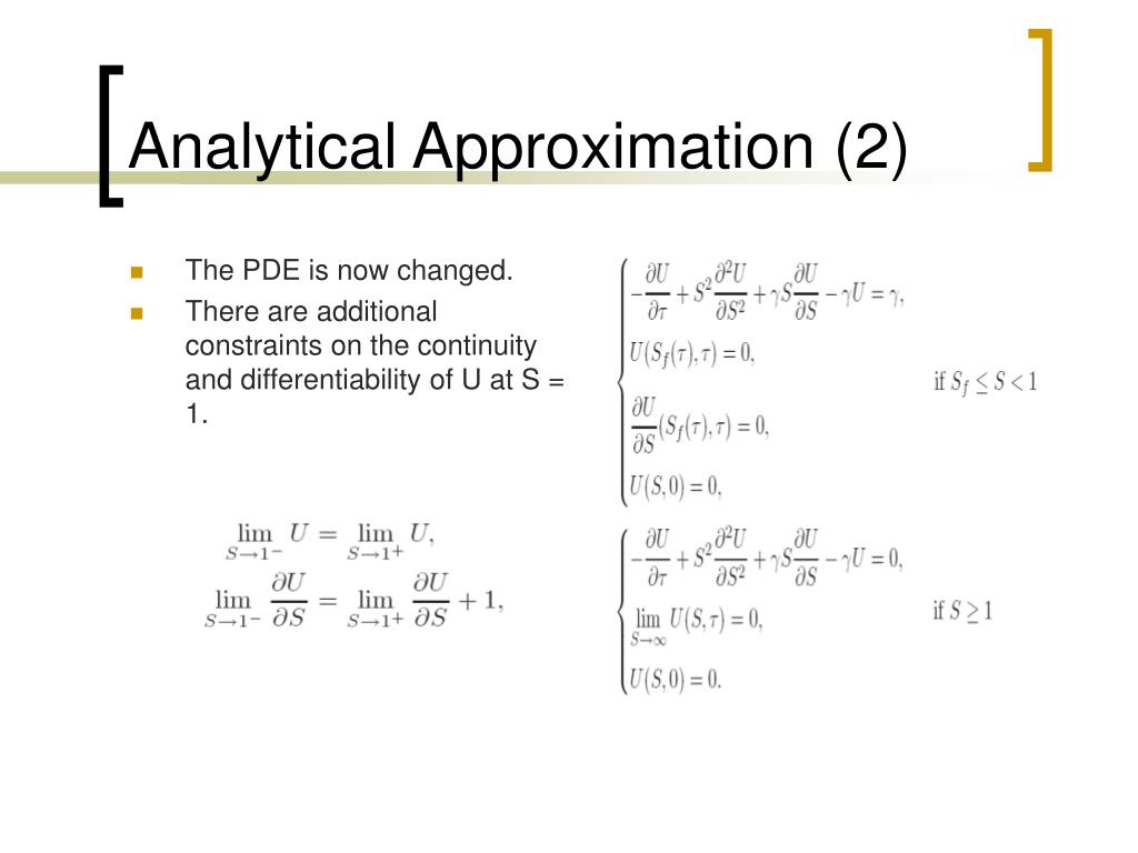 Analytical Approximation (2)