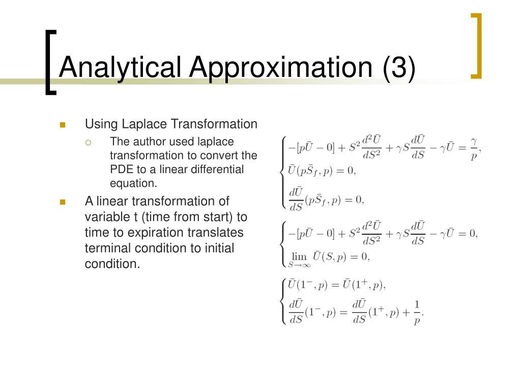 Analytical Approximation (3)