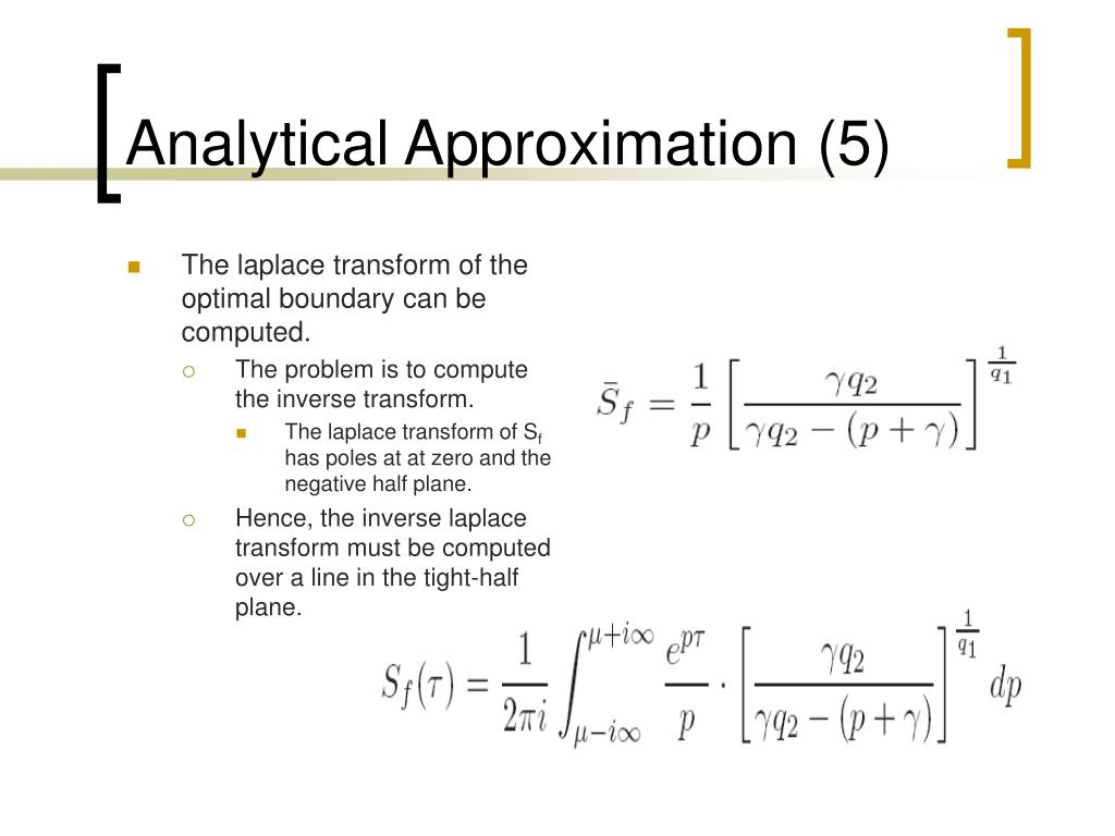 Analytical Approximation (5)