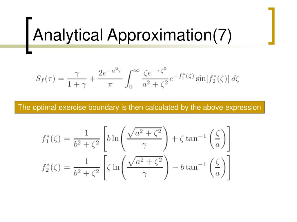 Analytical Approximation(7)