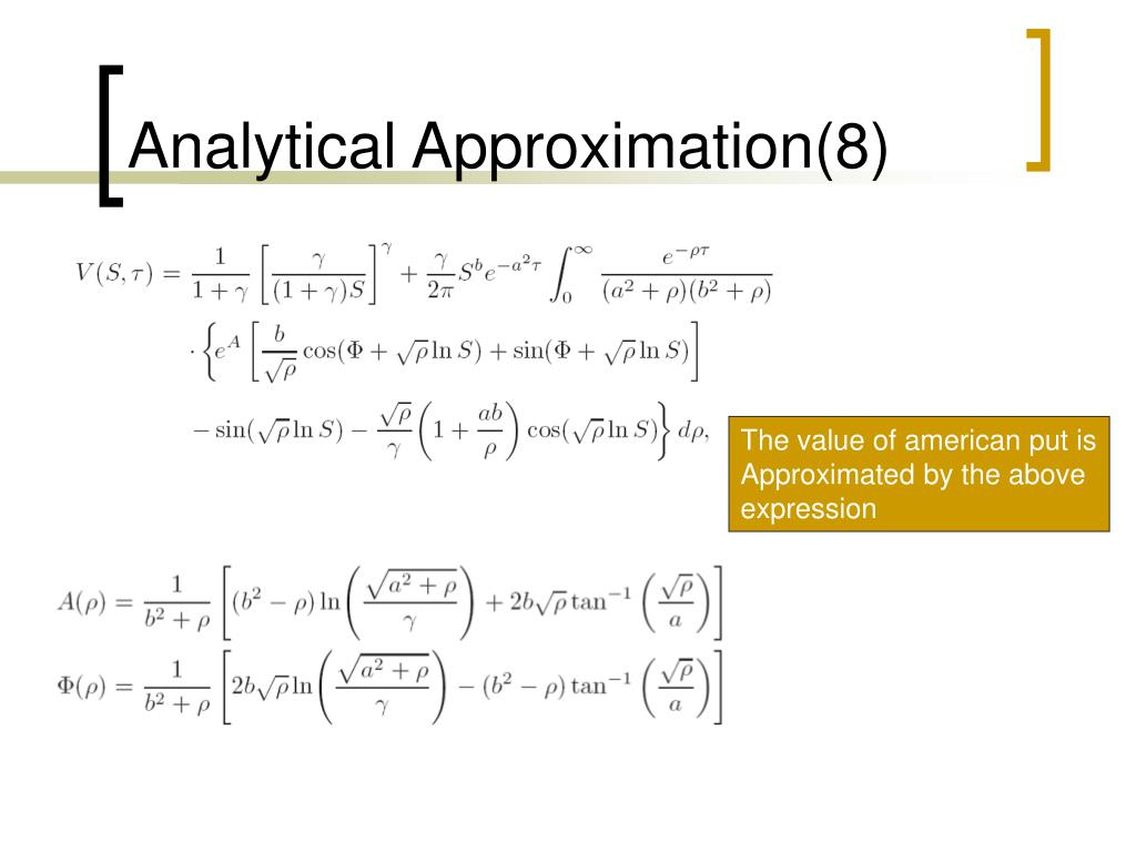 Analytical Approximation(8)