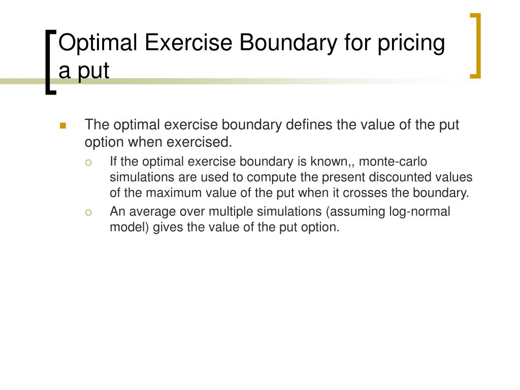 Optimal Exercise Boundary for pricing a put