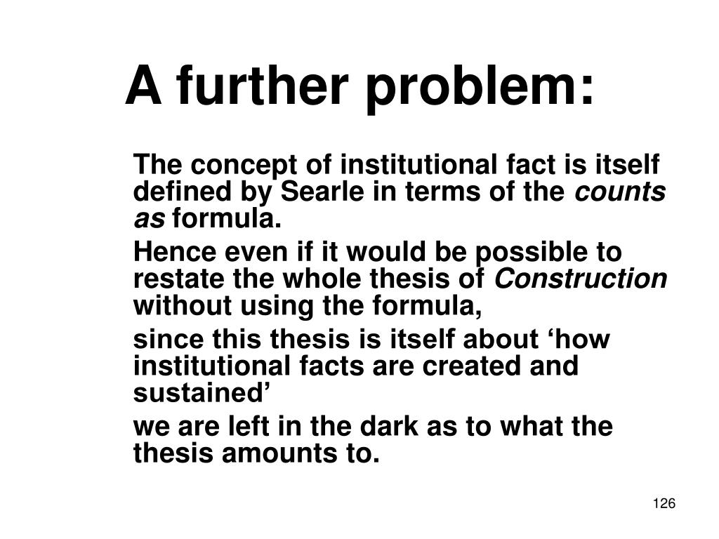 A further problem: