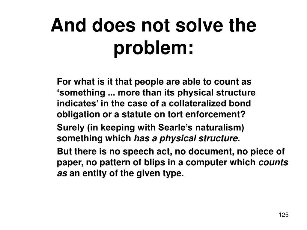 And does not solve the problem: