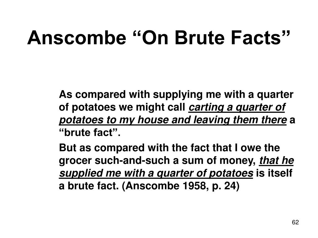 "Anscombe ""On Brute Facts"""
