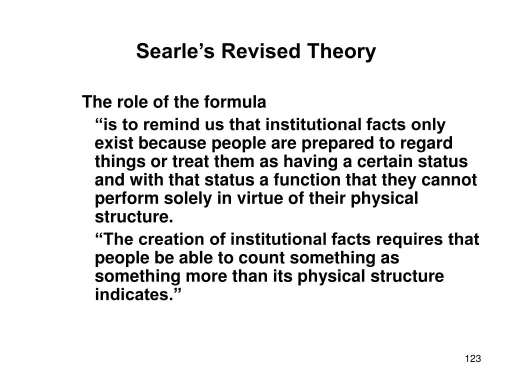 Searle's Revised Theory