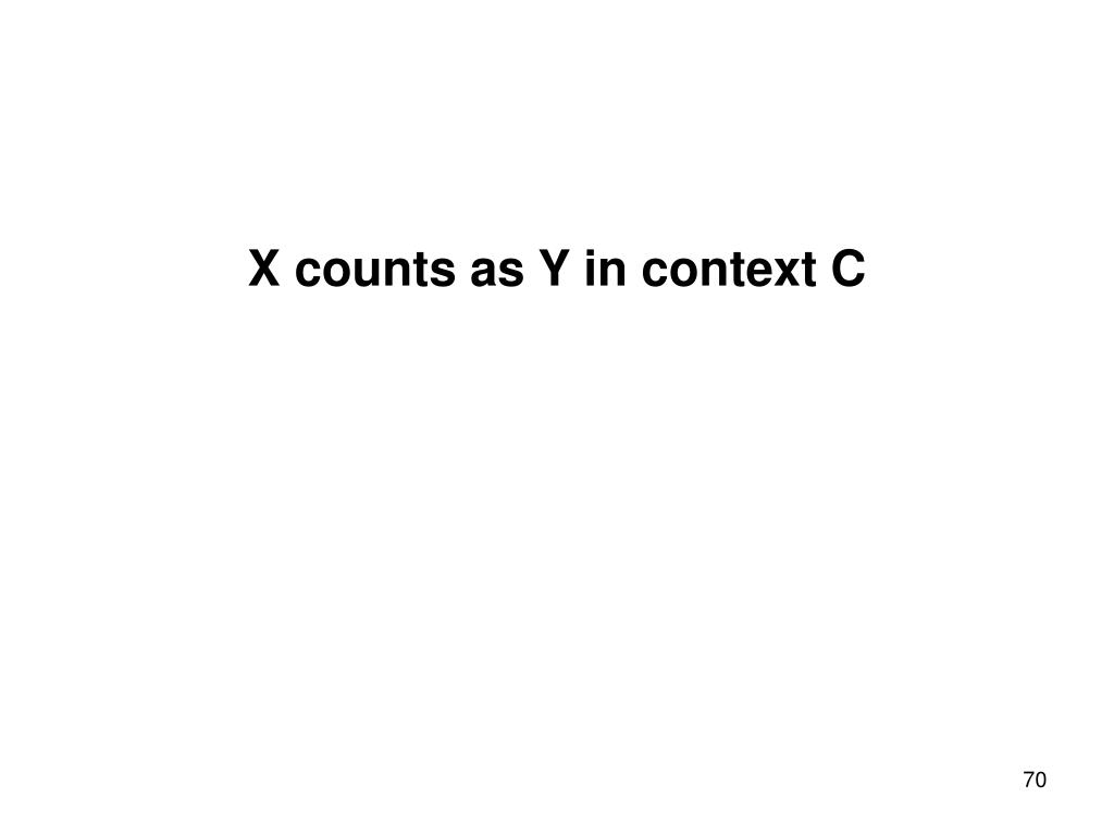 X counts as Y in context C