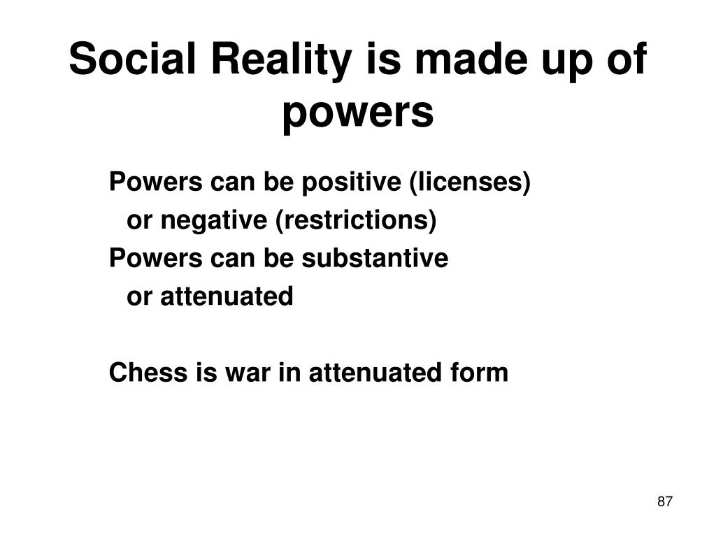 Social Reality is made up of powers