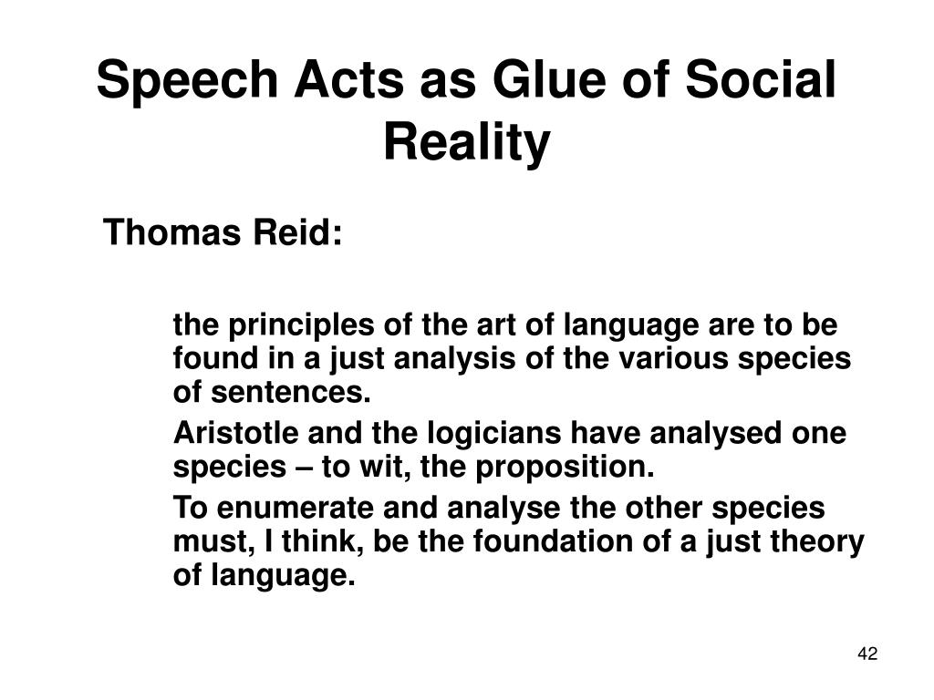 Speech Acts as Glue of Social Reality