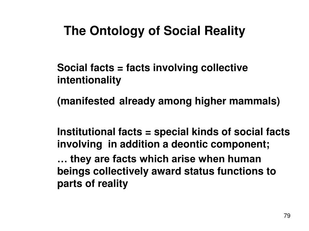 The Ontology of Social Reality
