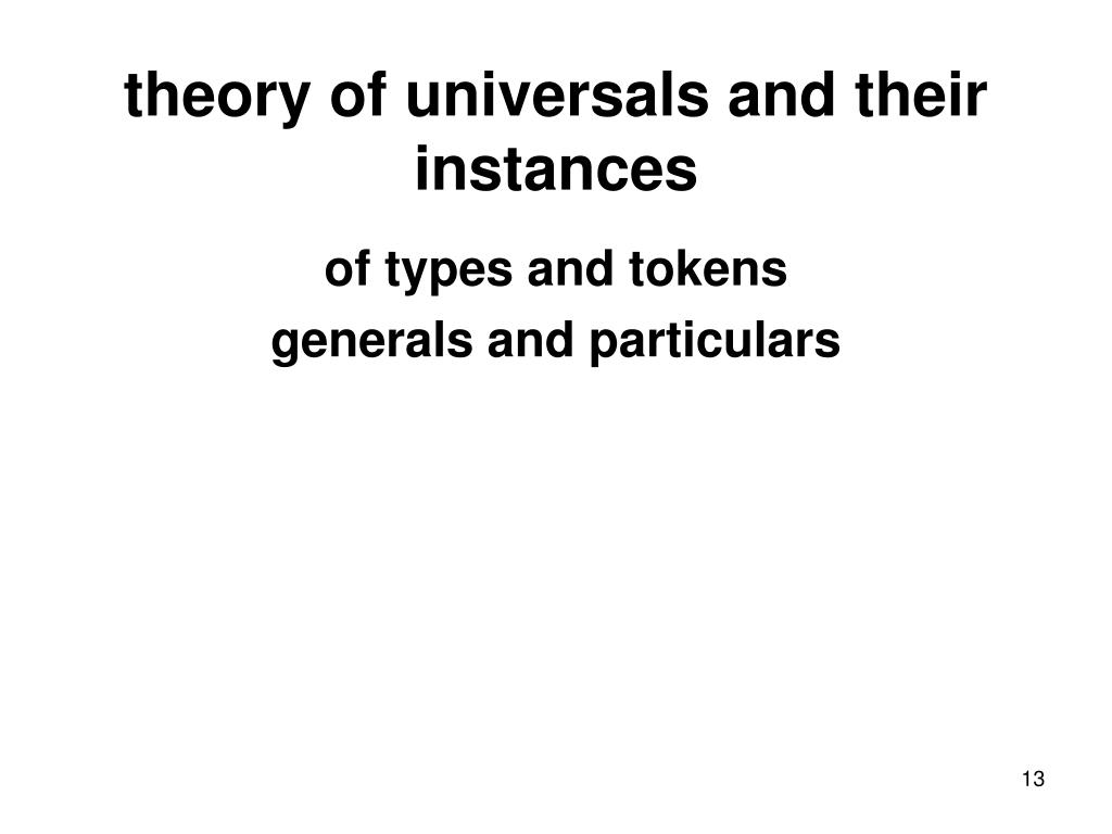 theory of universals and their instances