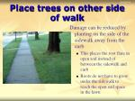 place trees on other side of walk