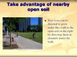 take advantage of nearby open soil