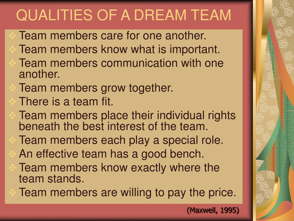 QUALITIES OF A DREAM TEAM