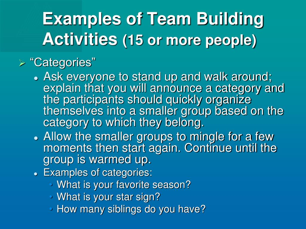 Examples of Team Building Activities