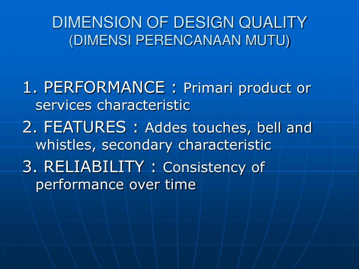 DIMENSION OF DESIGN QUALITY