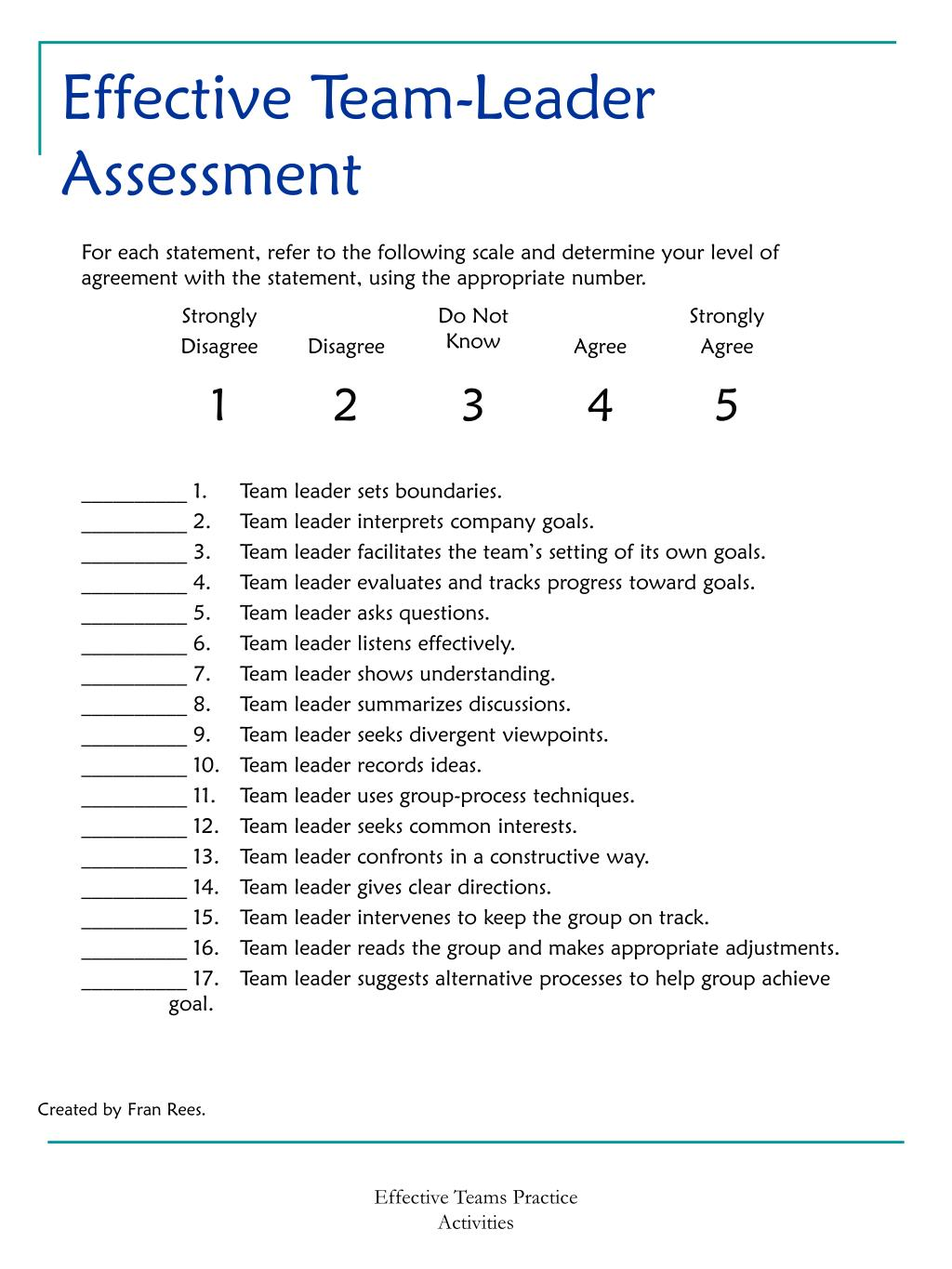 Effective Team-Leader Assessment