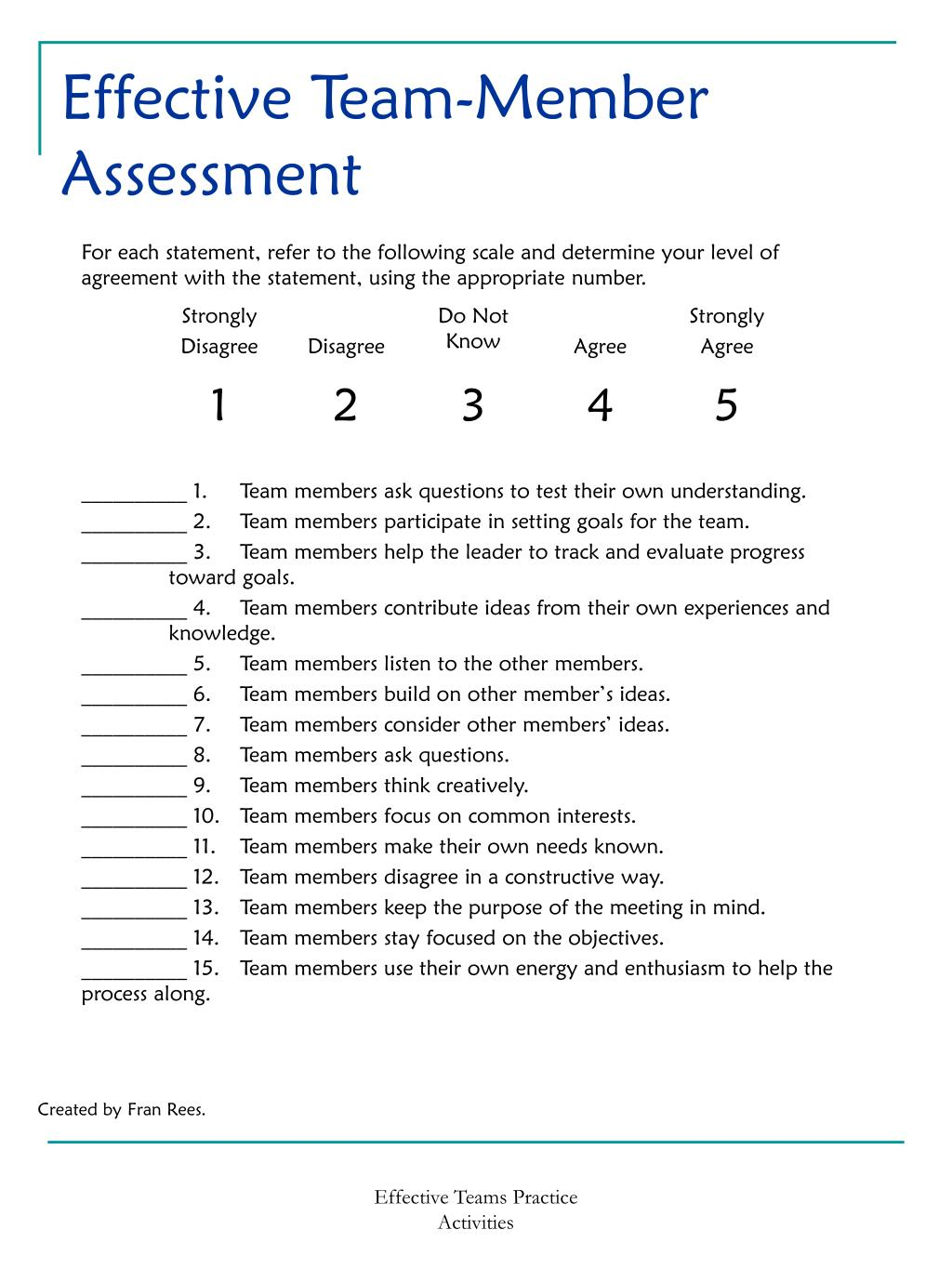 Effective Team-Member Assessment