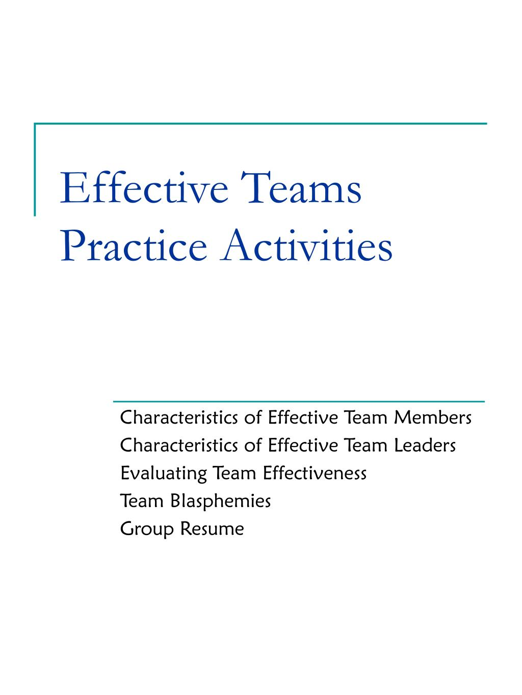 Effective Teams Practice Activities