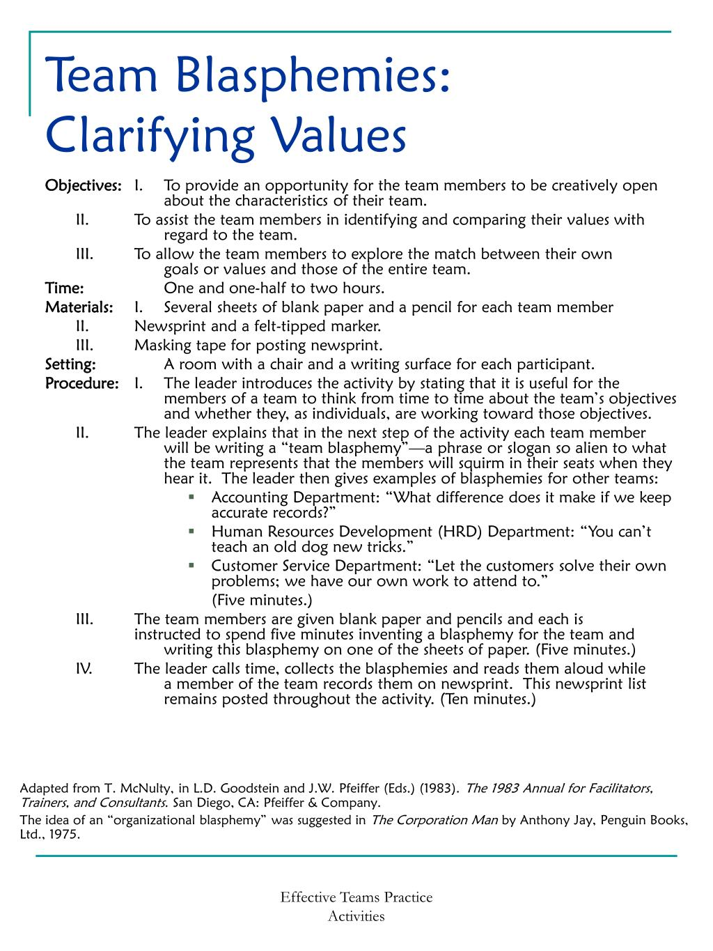 Team Blasphemies: Clarifying Values