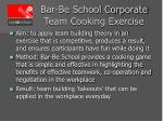bar be school corporate team cooking exercise