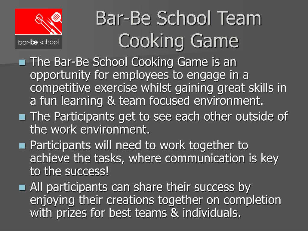 Bar-Be School Team Cooking Game