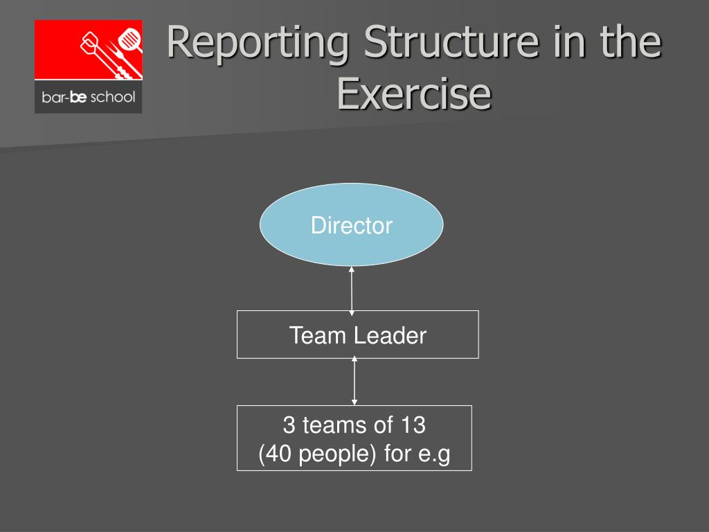 Reporting Structure in the Exercise