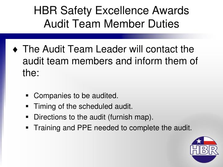 Hbr safety excellence awards audit team member duties