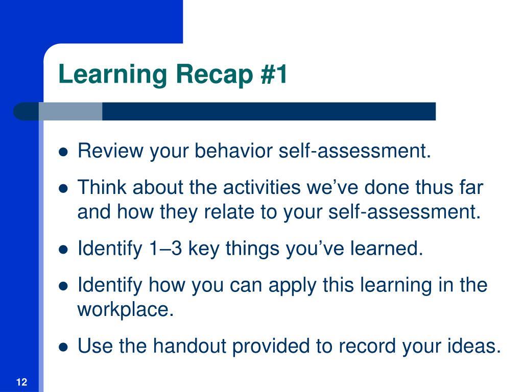 Learning Recap #1
