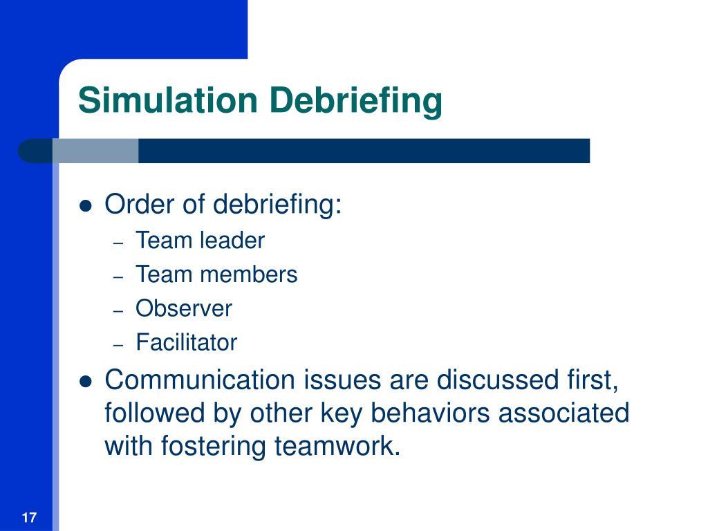 Simulation Debriefing