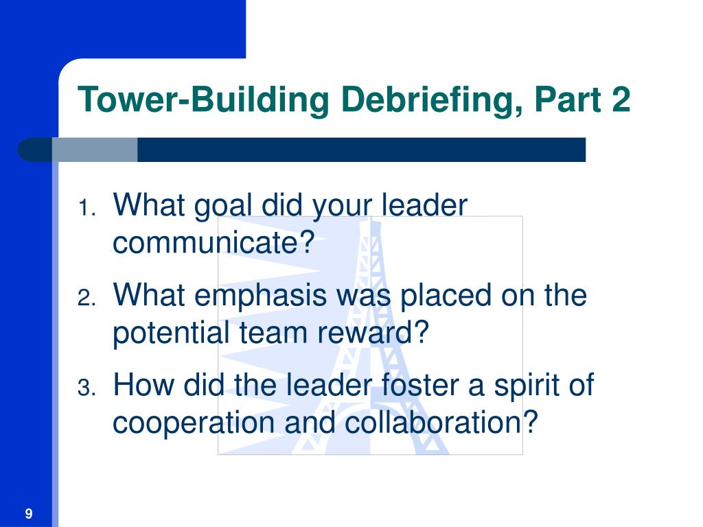 Tower-Building Debriefing, Part 2
