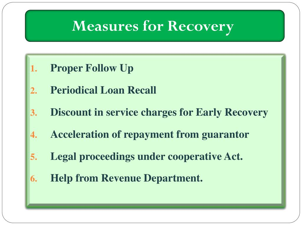 Measures for Recovery