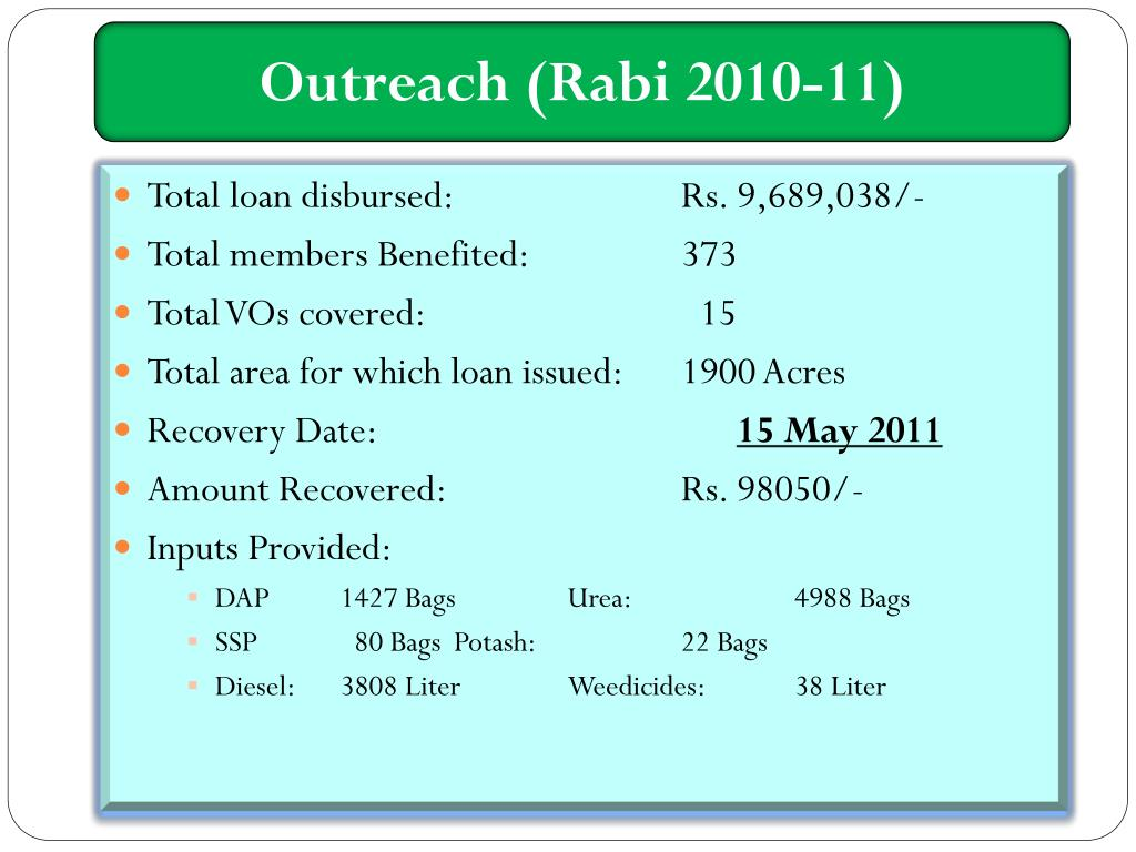 Outreach (Rabi 2010-11)