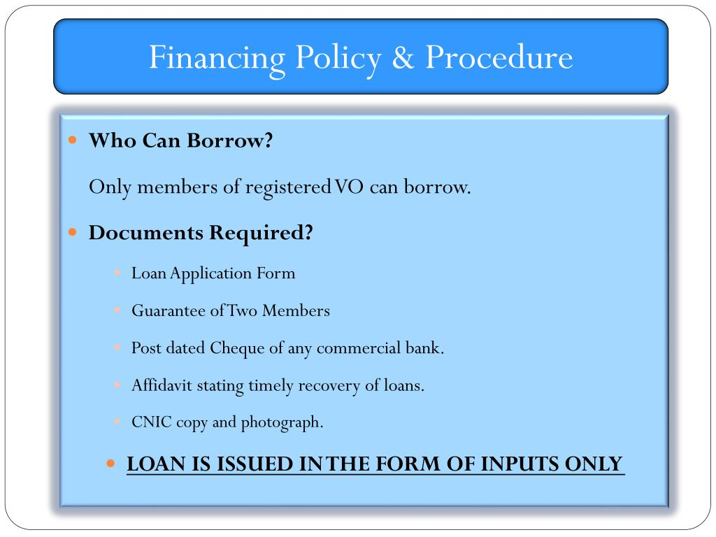 Financing Policy & Procedure