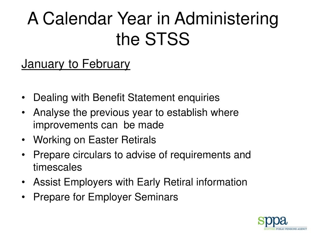 A Calendar Year in Administering the STSS