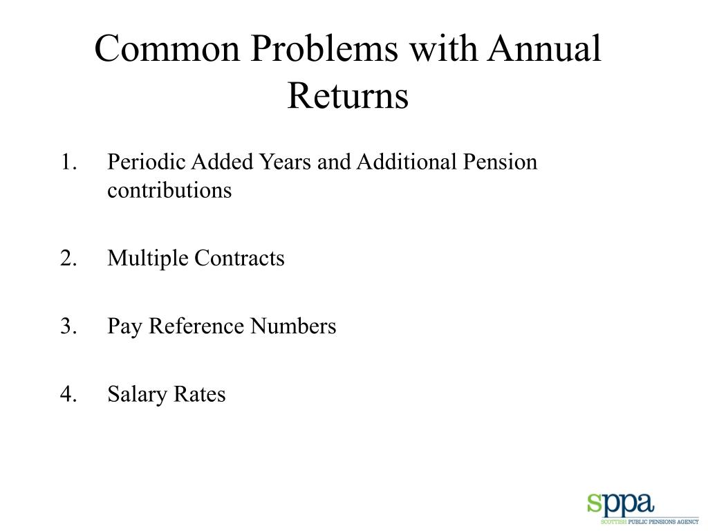 Common Problems with Annual Returns