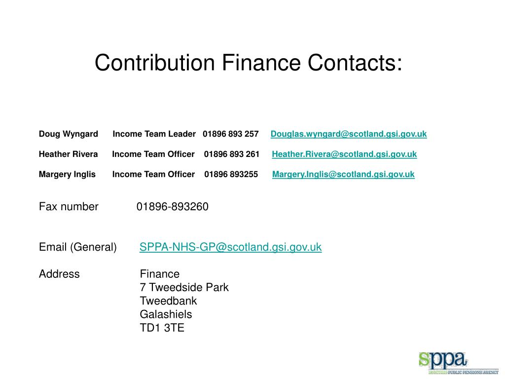 Contribution Finance Contacts: