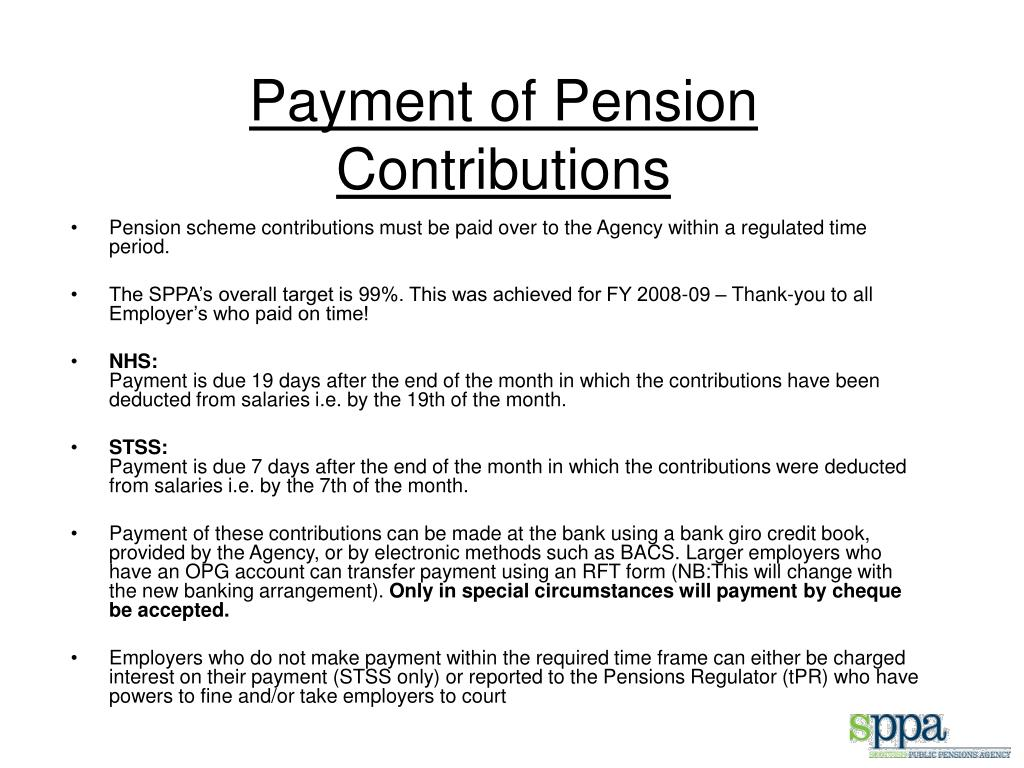 Payment of Pension Contributions