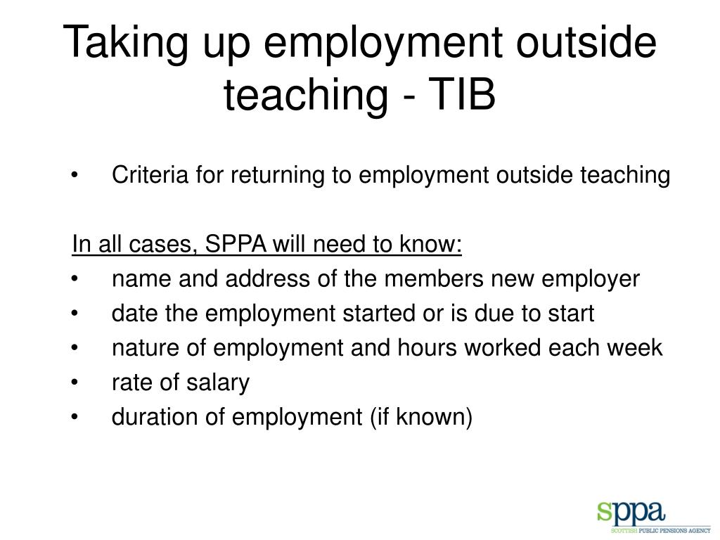Taking up employment outside teaching - TIB