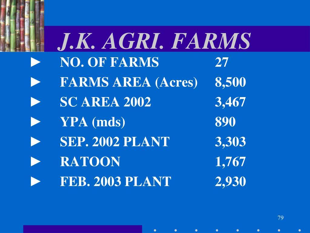 J.K. AGRI. FARMS