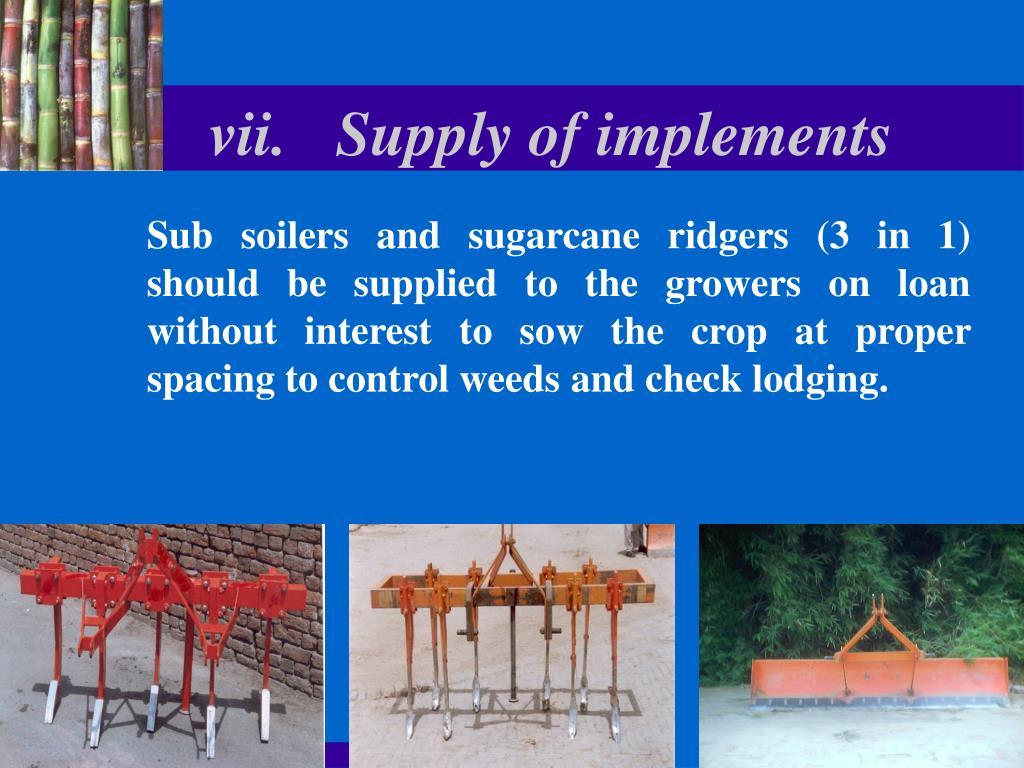vii.	Supply of implements