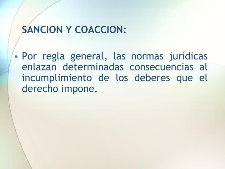 SANCION Y COACCION: